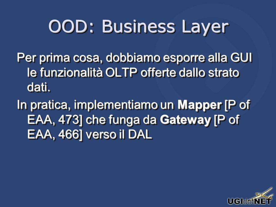OOD: Business Layer Per prima cosa, dobbiamo esporre alla GUI le funzionalità OLTP offerte dallo strato dati.