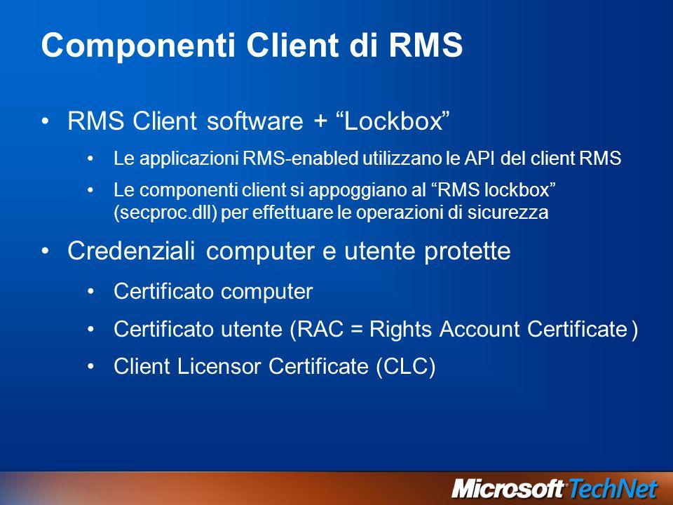 Componenti Client di RMS RMS Client software + Lockbox Le applicazioni RMS-enabled utilizzano le API del client RMS Le componenti client si appoggiano al RMS lockbox (secproc.dll) per effettuare le operazioni di sicurezza Credenziali computer e utente protette Certificato computer Certificato utente (RAC = Rights Account Certificate ) Client Licensor Certificate (CLC)