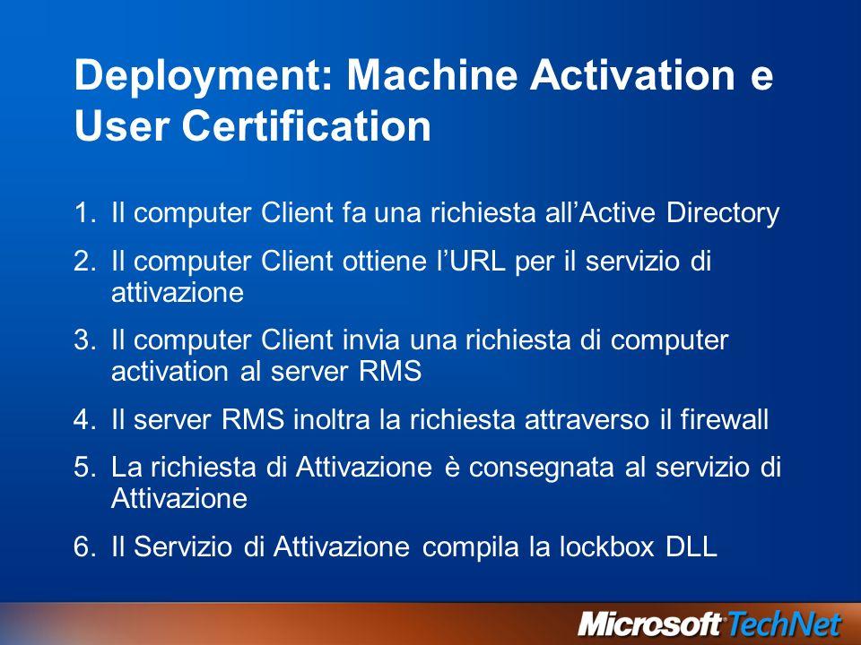 Deployment: Machine Activation e User Certification 1.Il computer Client fa una richiesta allActive Directory 2.Il computer Client ottiene lURL per il servizio di attivazione 3.Il computer Client invia una richiesta di computer activation al server RMS 4.Il server RMS inoltra la richiesta attraverso il firewall 5.La richiesta di Attivazione è consegnata al servizio di Attivazione 6.Il Servizio di Attivazione compila la lockbox DLL