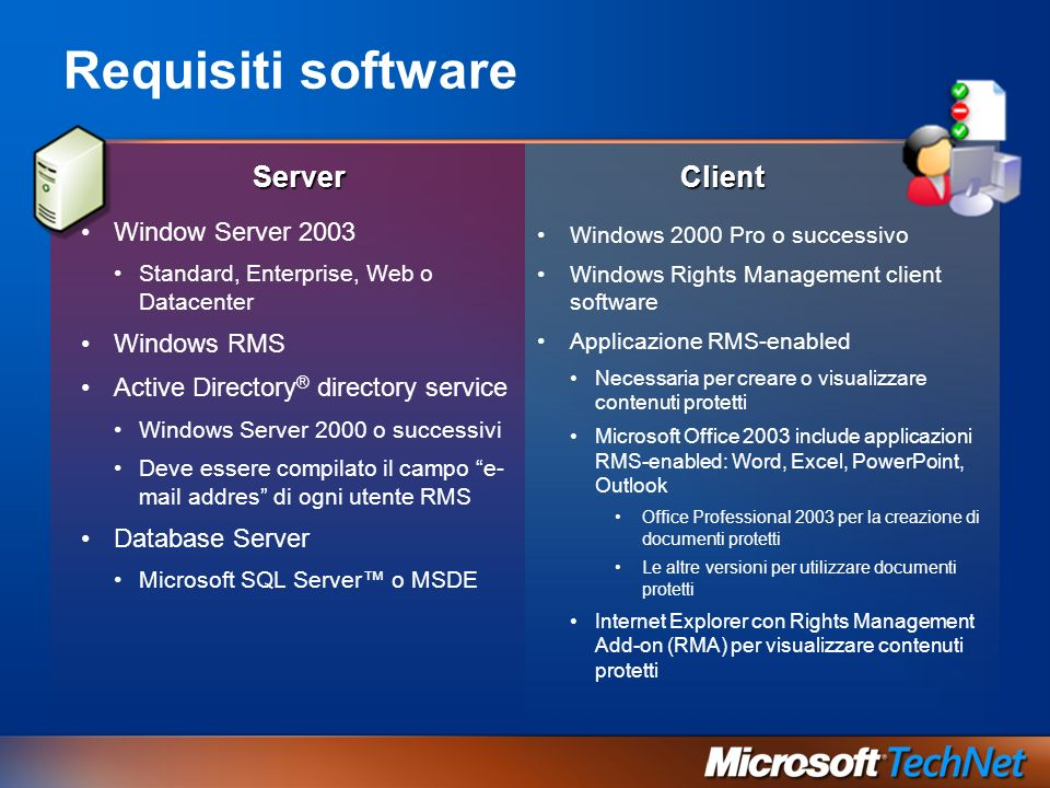 Requisiti software Server Window Server 2003 Standard, Enterprise, Web o Datacenter Windows RMS Active Directory ® directory service Windows Server 20