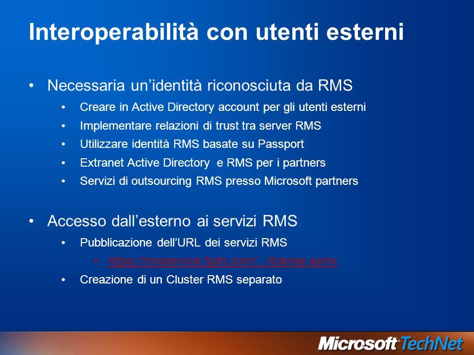 Interoperabilità con utenti esterni Necessaria unidentità riconosciuta da RMS Creare in Active Directory account per gli utenti esterni Implementare r