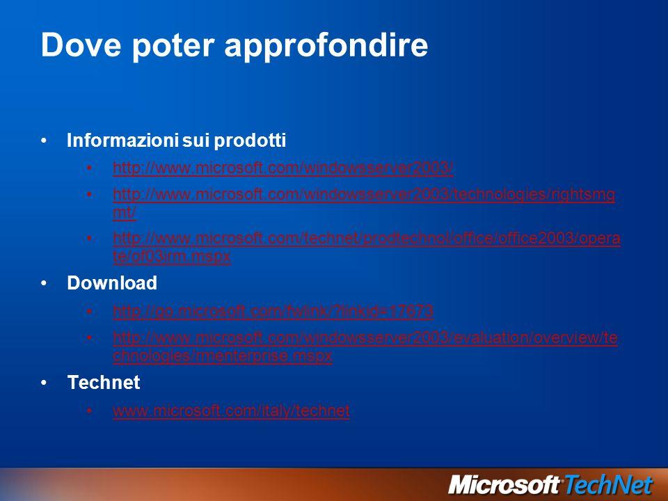 Dove poter approfondire Informazioni sui prodotti http://www.microsoft.com/windowsserver2003/ http://www.microsoft.com/windowsserver2003/technologies/