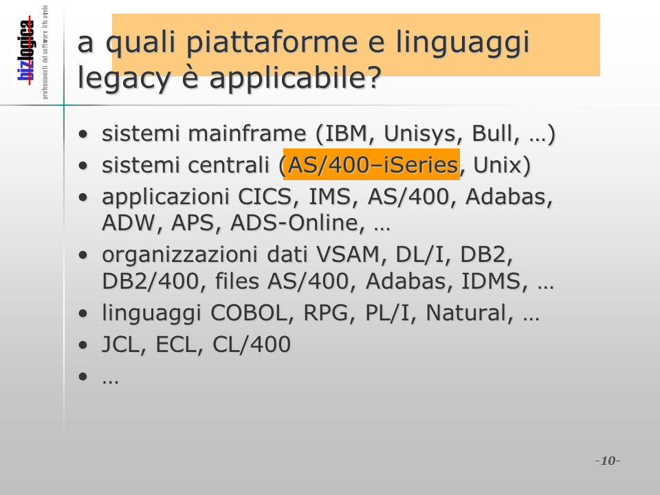 professionisti del software life cycle -10- a quali piattaforme e linguaggi legacy è applicabile? sistemi mainframe (IBM, Unisys, Bull, …)sistemi main