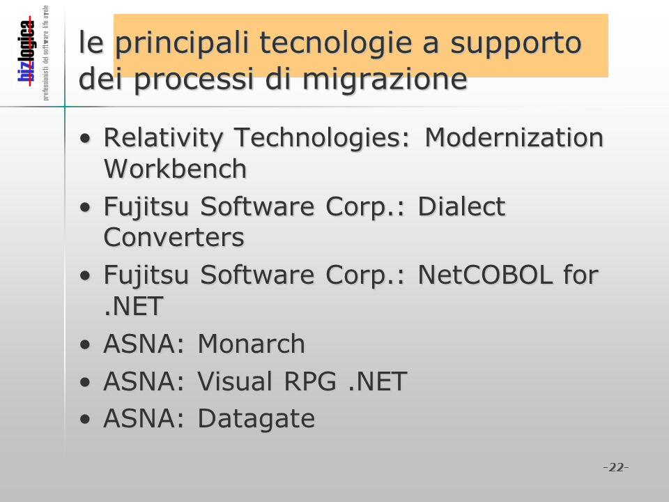 professionisti del software life cycle -22- le principali tecnologie a supporto dei processi di migrazione Relativity Technologies: Modernization Work