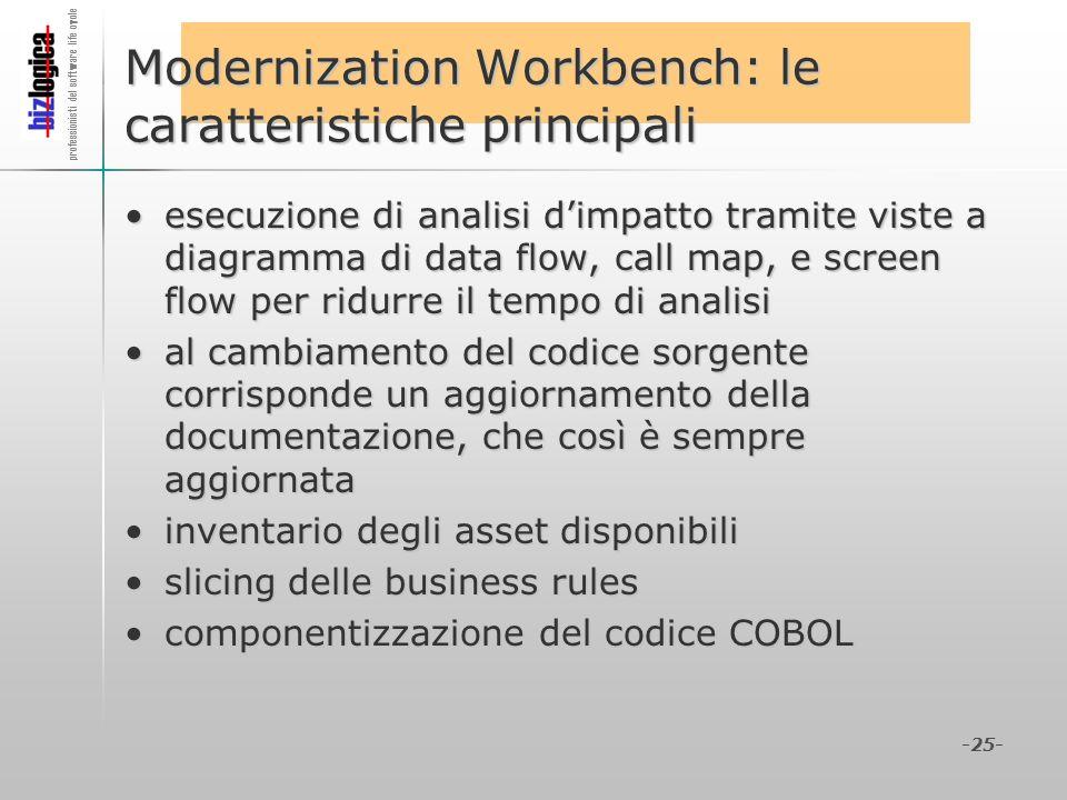 professionisti del software life cycle -25- Modernization Workbench: le caratteristiche principali esecuzione di analisi dimpatto tramite viste a diag