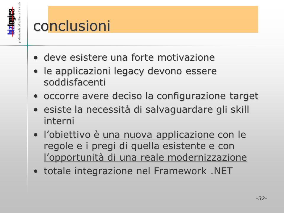 -32- conclusioni deve esistere una forte motivazionedeve esistere una forte motivazione le applicazioni legacy devono essere soddisfacentile applicazi