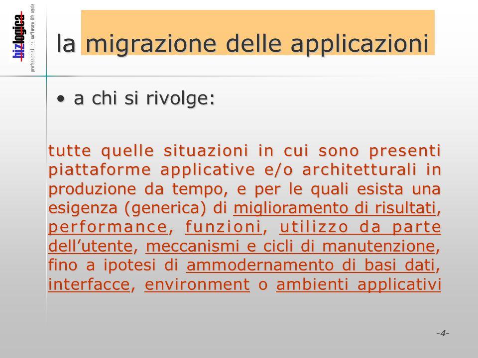 professionisti del software life cycle -4- la migrazione delle applicazioni a chi si rivolge:a chi si rivolge: tutte quelle situazioni in cui sono pre