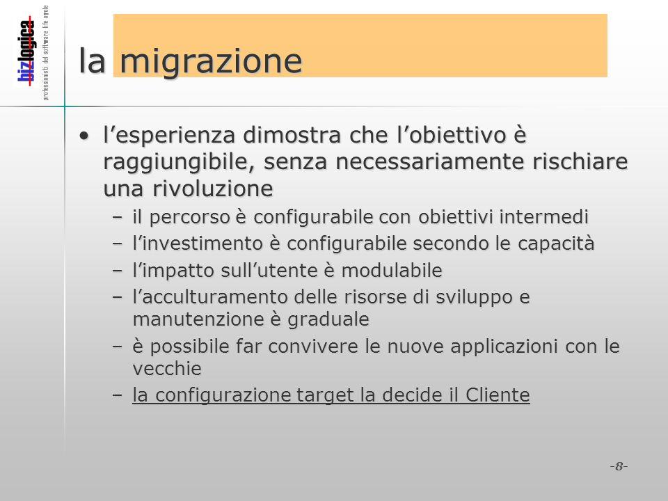 professionisti del software life cycle -8- la migrazione lesperienza dimostra che lobiettivo è raggiungibile, senza necessariamente rischiare una rivo