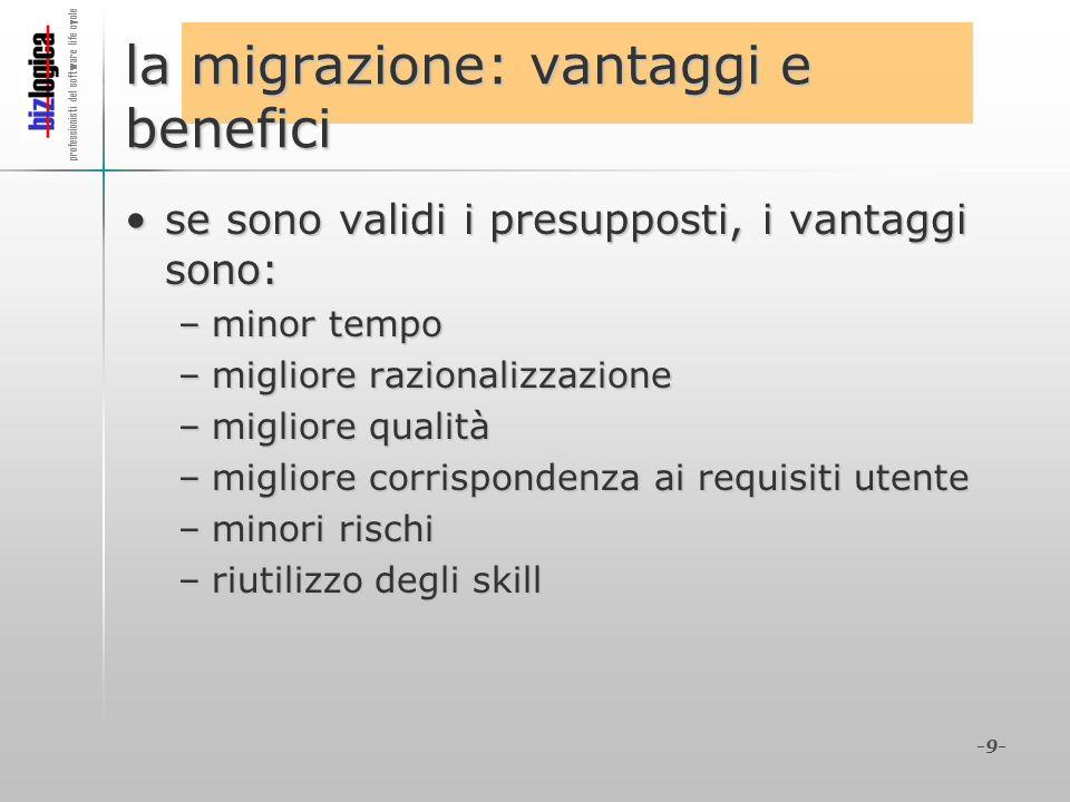 professionisti del software life cycle -9- la migrazione: vantaggi e benefici se sono validi i presupposti, i vantaggi sono:se sono validi i presuppos
