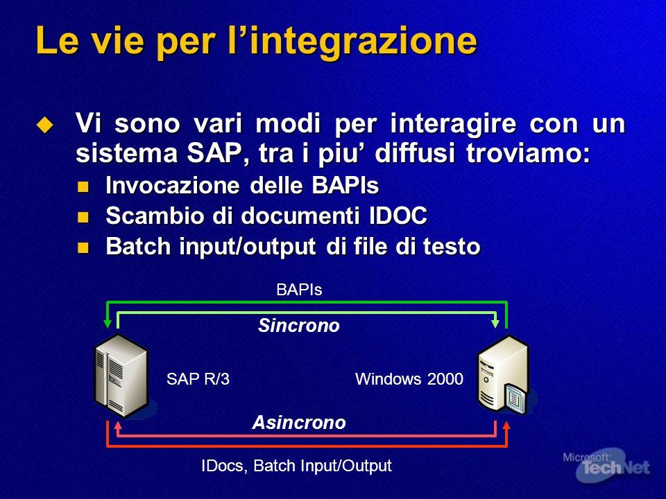 Le vie per lintegrazione Vi sono vari modi per interagire con un sistema SAP, tra i piu diffusi troviamo: Vi sono vari modi per interagire con un sist