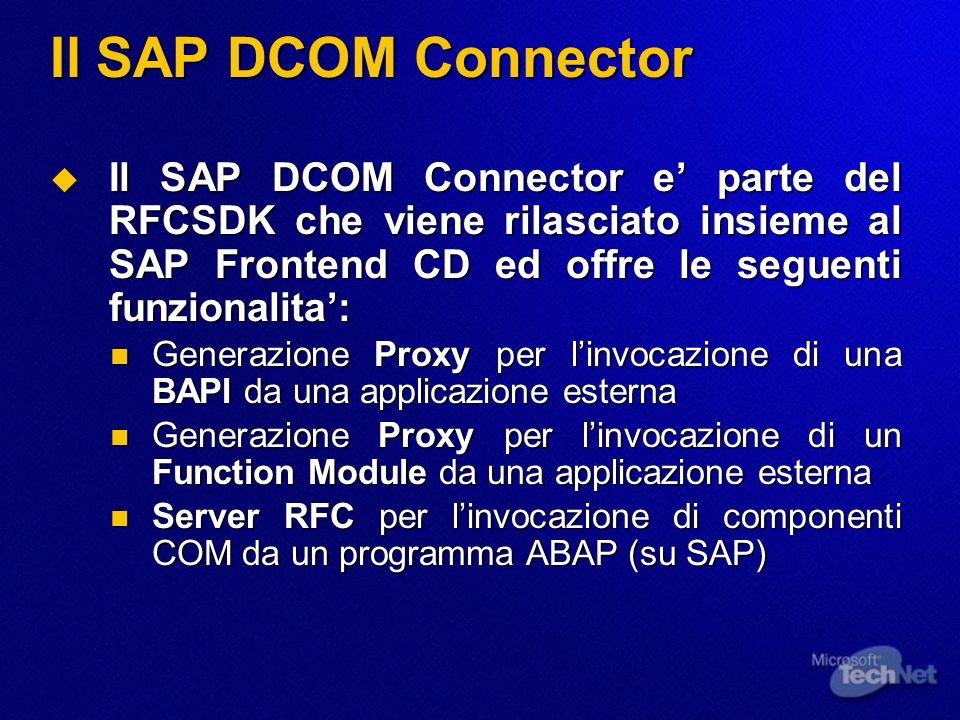 Il SAP DCOM Connector Il SAP DCOM Connector e parte del RFCSDK che viene rilasciato insieme al SAP Frontend CD ed offre le seguenti funzionalita: Il S