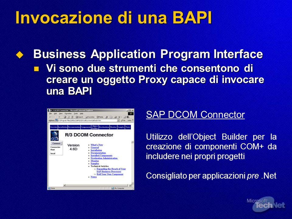 Invocazione di una BAPI Business Application Program Interface Business Application Program Interface Vi sono due strumenti che consentono di creare u