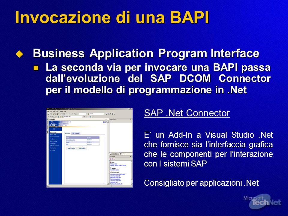 Invocazione di una BAPI Business Application Program Interface Business Application Program Interface La seconda via per invocare una BAPI passa dalle