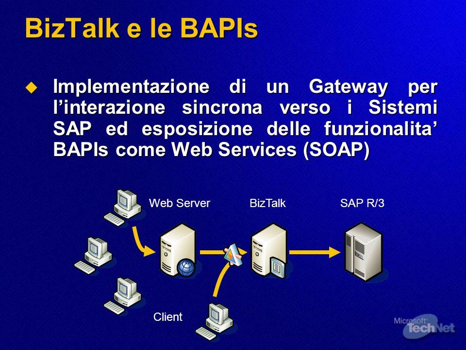BizTalk e le BAPIs Implementazione di un Gateway per linterazione sincrona verso i Sistemi SAP ed esposizione delle funzionalita BAPIs come Web Servic