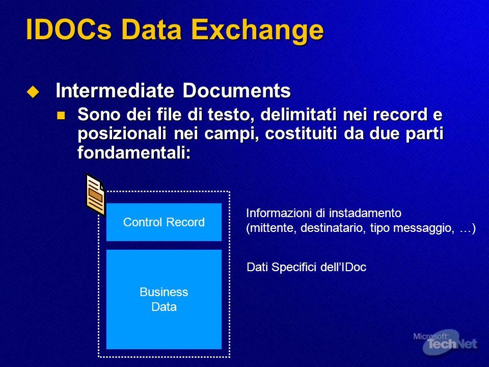IDOCs Data Exchange Intermediate Documents Intermediate Documents Sono dei file di testo, delimitati nei record e posizionali nei campi, costituiti da