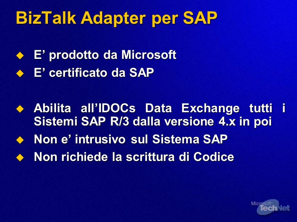 BizTalk Adapter per SAP E prodotto da Microsoft E prodotto da Microsoft E certificato da SAP E certificato da SAP Abilita allIDOCs Data Exchange tutti