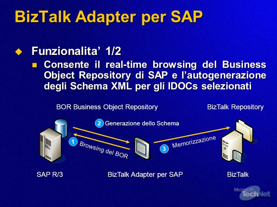 BizTalk Adapter per SAP Funzionalita 1/2 Funzionalita 1/2 Consente il real-time browsing del Business Object Repository di SAP e lautogenerazione degl