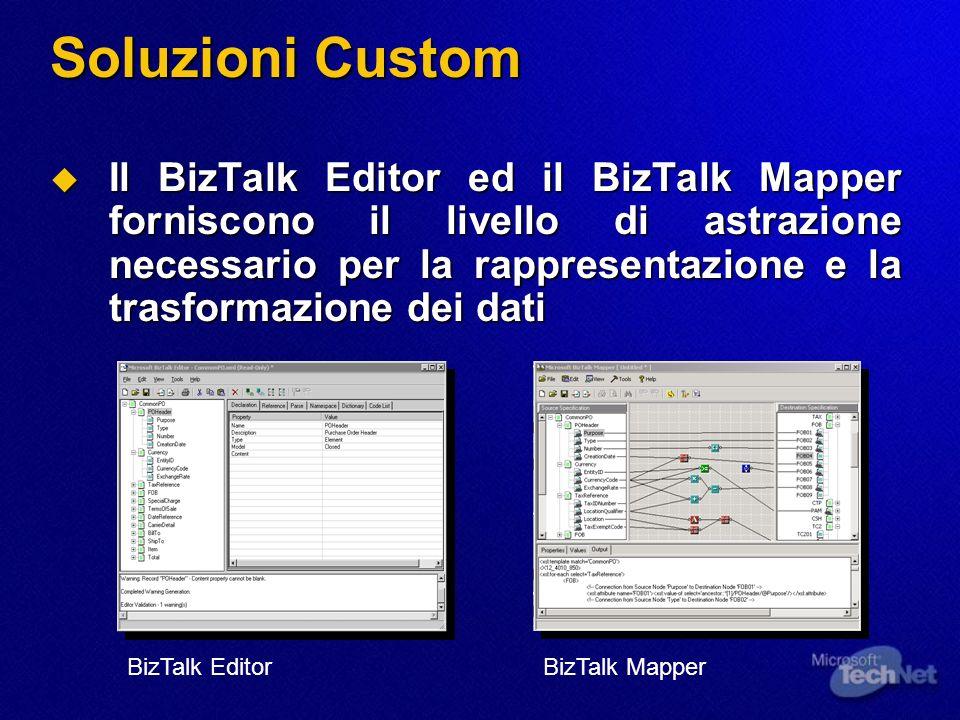 Soluzioni Custom Il BizTalk Editor ed il BizTalk Mapper forniscono il livello di astrazione necessario per la rappresentazione e la trasformazione dei
