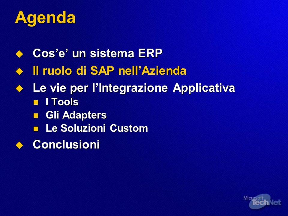 Il ruolo di SAP nellAzienda SAP e uno dei piu diffusi sistemi ERP per aziende medio grandi SAP e uno dei piu diffusi sistemi ERP per aziende medio grandi E multipiattaforma (Windows, Unix) E multipiattaforma (Windows, Unix) E multidatabase (SQL Server, Oracle, DB2,…) E multidatabase (SQL Server, Oracle, DB2,…) E modulare E modulare E aperto alle integrazioni E aperto alle integrazioni SAP R/3 Unix SAP R/3 Windows 2000 Oracle, DB2SQL Server, …