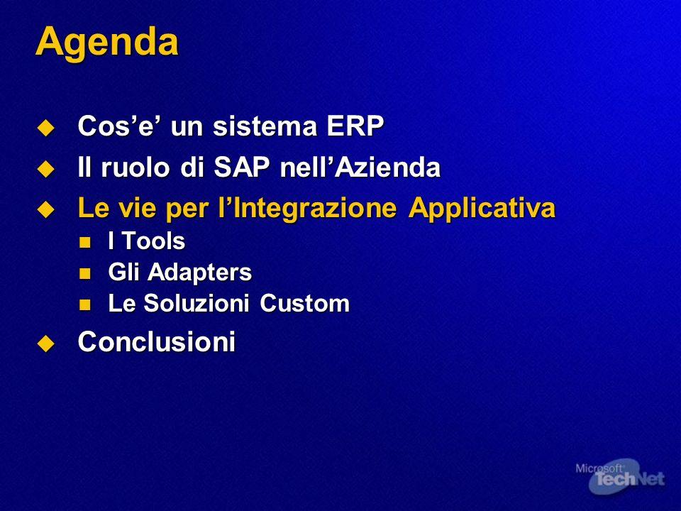 BizTalk Adapter per SAP Funzionalita 2/2 Funzionalita 2/2 Consente di Ricevere ed Inviare IDOCs Consente di Ricevere ed Inviare IDOCs SAP R/3 BizTalk Server Servizio COM4ABAP IDOC tRFC BizTalk Adapter MS Message Queuing Validazione e Trasformazione Attivazione Processo e/o Delivery Receive Function