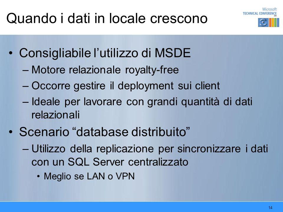 14 Quando i dati in locale crescono Consigliabile lutilizzo di MSDE –Motore relazionale royalty-free –Occorre gestire il deployment sui client –Ideale