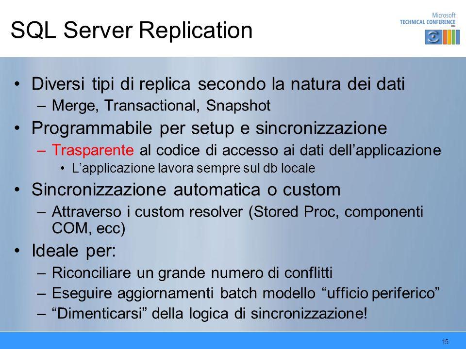 15 SQL Server Replication Diversi tipi di replica secondo la natura dei dati –Merge, Transactional, Snapshot Programmabile per setup e sincronizzazion