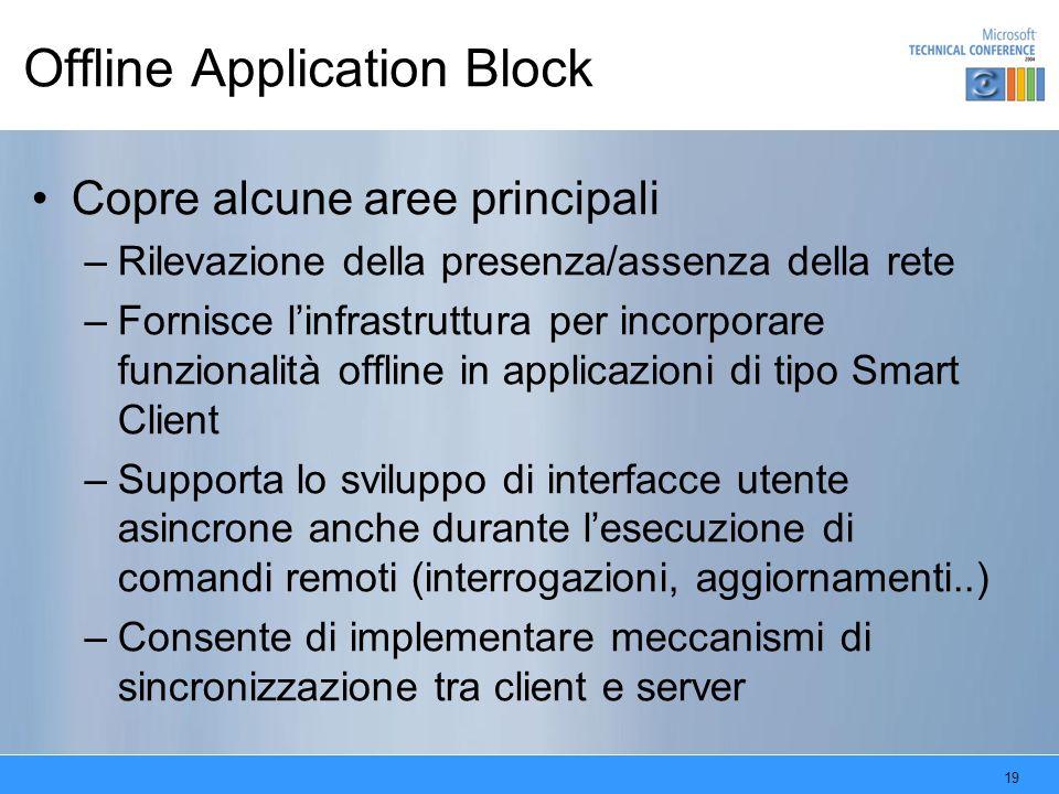 19 Offline Application Block Copre alcune aree principali –Rilevazione della presenza/assenza della rete –Fornisce linfrastruttura per incorporare fun