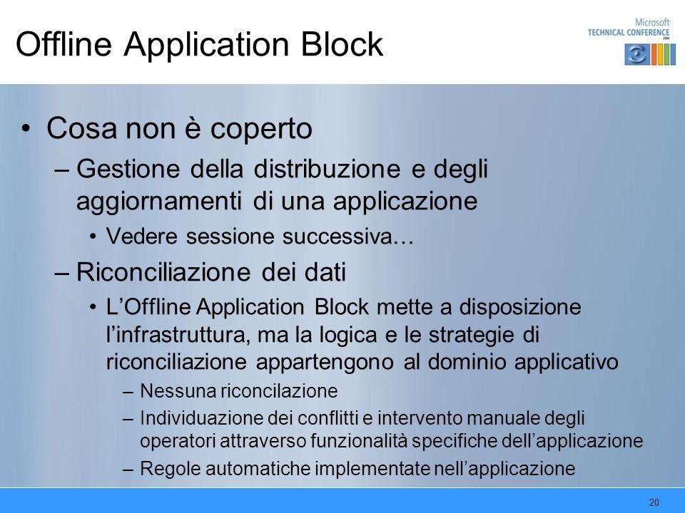 20 Offline Application Block Cosa non è coperto –Gestione della distribuzione e degli aggiornamenti di una applicazione Vedere sessione successiva… –R