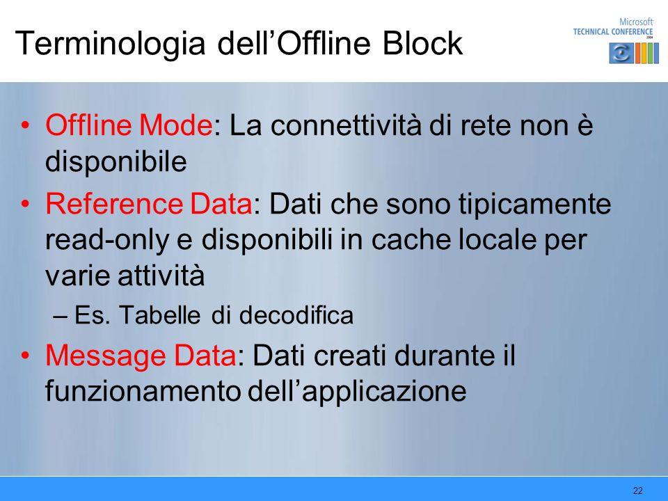 22 Terminologia dellOffline Block Offline Mode: La connettività di rete non è disponibile Reference Data: Dati che sono tipicamente read-only e dispon