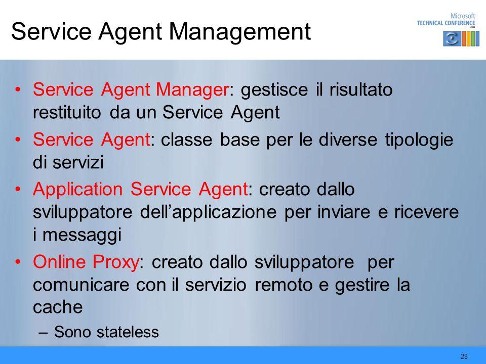 28 Service Agent Management Service Agent Manager: gestisce il risultato restituito da un Service Agent Service Agent: classe base per le diverse tipo