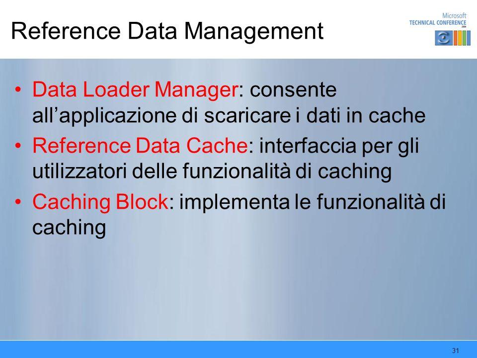 31 Reference Data Management Data Loader Manager: consente allapplicazione di scaricare i dati in cache Reference Data Cache: interfaccia per gli util