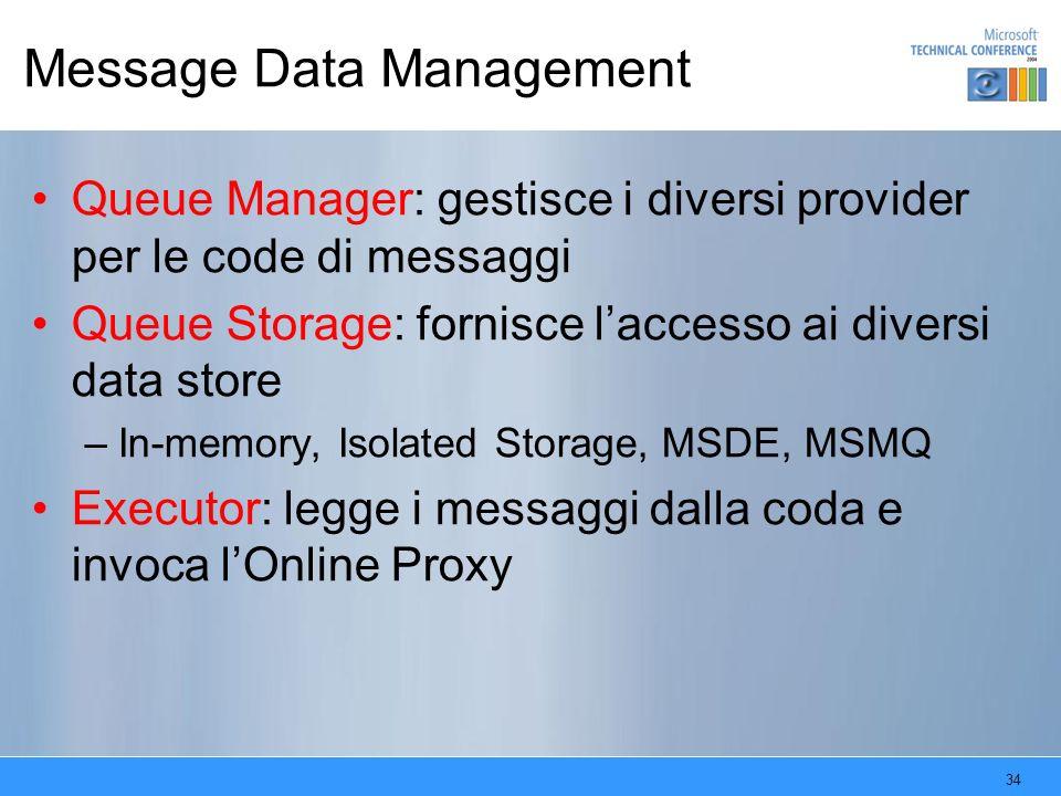 34 Message Data Management Queue Manager: gestisce i diversi provider per le code di messaggi Queue Storage: fornisce laccesso ai diversi data store –