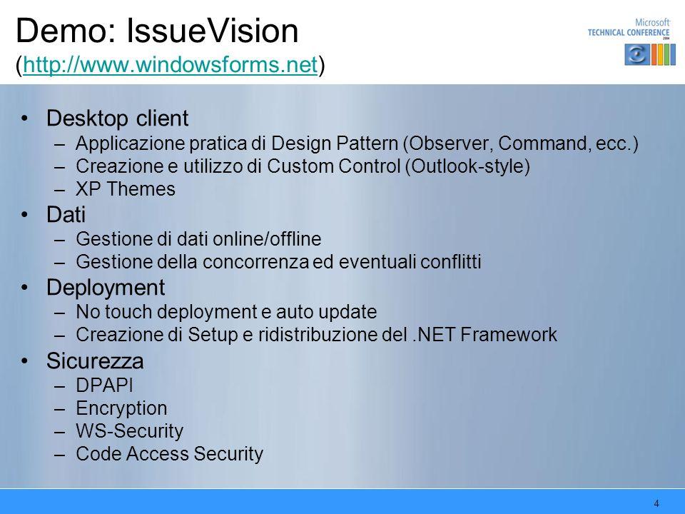 4 Demo: IssueVision (http://www.windowsforms.net)http://www.windowsforms.net Desktop client –Applicazione pratica di Design Pattern (Observer, Command