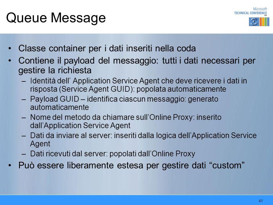 41 Queue Message Classe container per i dati inseriti nella coda Contiene il payload del messaggio: tutti i dati necessari per gestire la richiesta –I