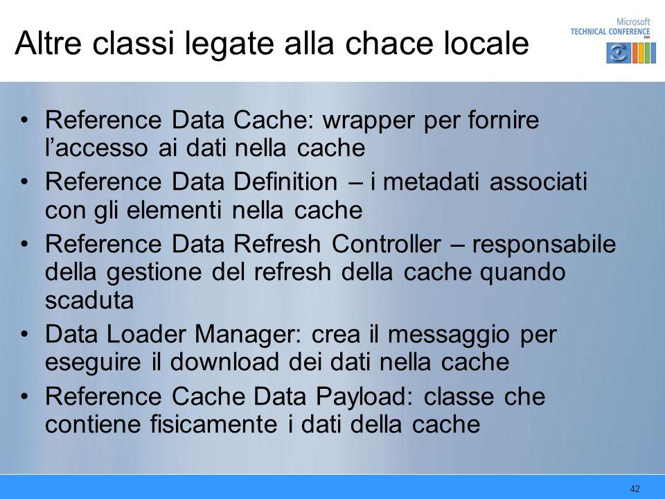 42 Altre classi legate alla chace locale Reference Data Cache: wrapper per fornire laccesso ai dati nella cache Reference Data Definition – i metadati