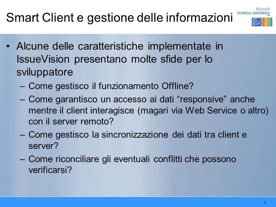 5 Smart Client e gestione delle informazioni Alcune delle caratteristiche implementate in IssueVision presentano molte sfide per lo sviluppatore –Come