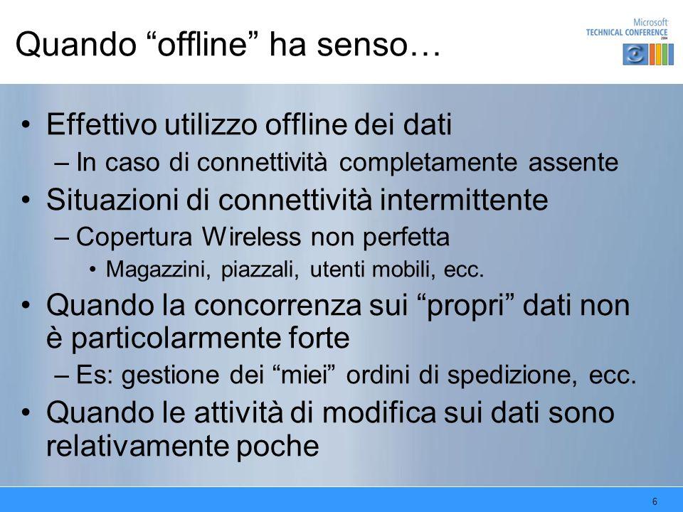 6 Quando offline ha senso… Effettivo utilizzo offline dei dati –In caso di connettività completamente assente Situazioni di connettività intermittente