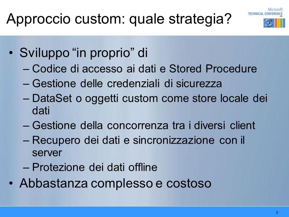 9 Approccio custom: quale strategia? Sviluppo in proprio di –Codice di accesso ai dati e Stored Procedure –Gestione delle credenziali di sicurezza –Da