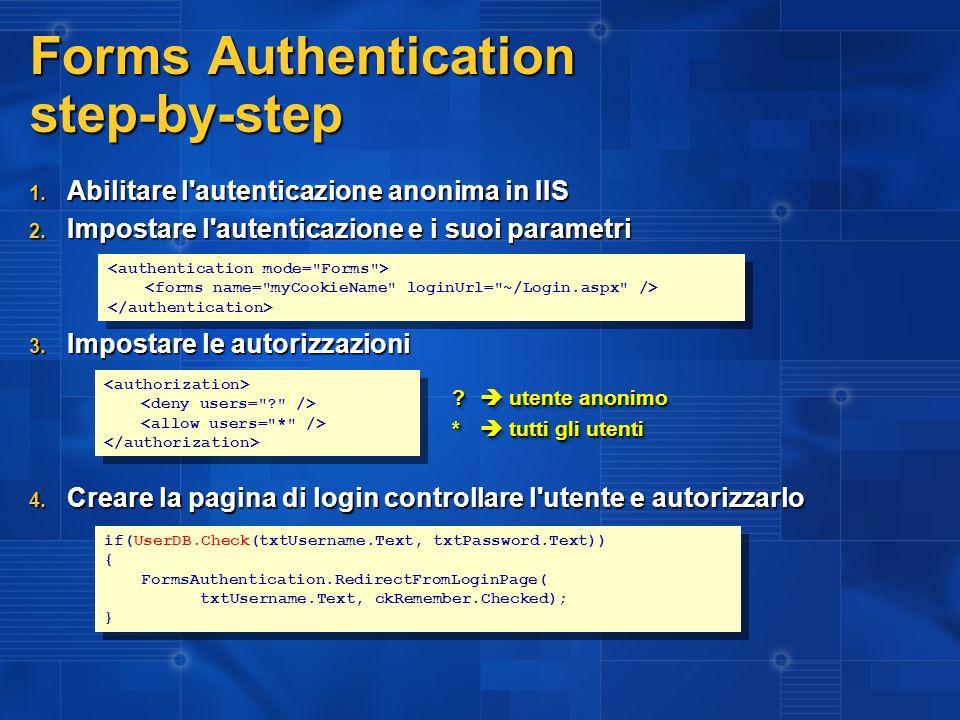 Forms Authentication gestire i ruoli 1.Gestire l evento Application_AuthenticateRequest 2.
