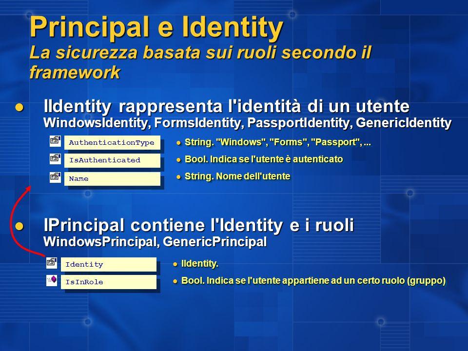 Forms Authentication Gestione utenti Gli utenti si possono anche gestire nel web.config ma è sconsigliato: Gli utenti si possono anche gestire nel web.config ma è sconsigliato: <credentials passwordFormat = SHA1 <credentials passwordFormat = SHA1