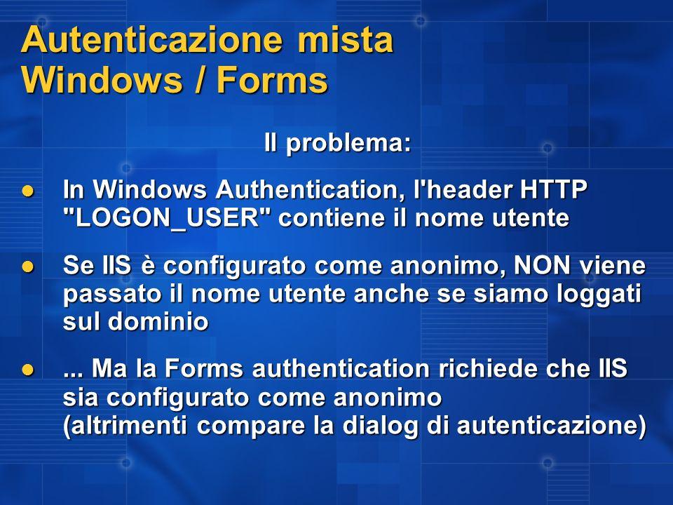 Autenticazione mista Windows / Forms La soluzione: Due pagine di Login: Forms e Windows Due pagine di Login: Forms e Windows Web.config configurato per la Forms Web.config configurato per la Forms Autorizzazione a tutti per la pagina di Login Windows Autorizzazione a tutti per la pagina di Login Windows IIS – WebApp: abilitare accesso anonimo IIS – WebApp: abilitare accesso anonimo IIS – LoginWin.aspx: togliere accesso anonimo IIS – LoginWin.aspx: togliere accesso anonimo LoginWin.aspx: Crea il ticket della Forms authenticaion a partire dalle credenziali Windows LoginWin.aspx: Crea il ticket della Forms authenticaion a partire dalle credenziali Windows