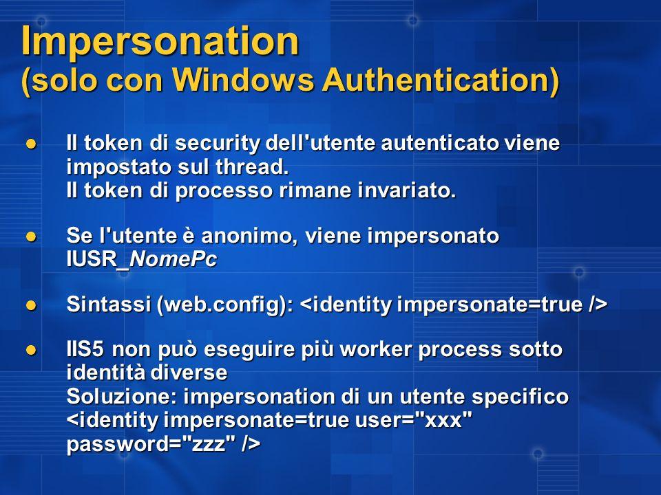I problemi architetturali di Impersonation Molti vogliono usare la security di Sql server Se il db è in rete, impersonation non funziona ma ci vuole invece delegation Se il db è in rete, impersonation non funziona ma ci vuole invece delegation Si perde il controllo centralizzato della security (accedere a Ntfs, Ldap, risorse in rete, DB) Si perde il controllo centralizzato della security (accedere a Ntfs, Ldap, risorse in rete, DB) La security per righe fatta con sql server è un incubo La security per righe fatta con sql server è un incubo