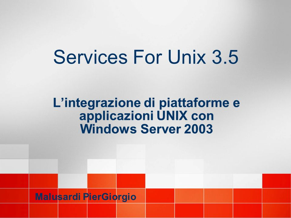 Password Authentication Module (PAM) Da UNIX a Windows Server Per le diverse piattaforme (\unix\bins) Pam_sso.h11 (HP-UX) Pam_sso.so7 (Solaris) Pam.conf Pam_sso.l25 (RH Linux) /etc/pam.d/passwd Per Compaq Tru64 Security Integration Architecture (SIA) Libsia.so (\unix\bins)