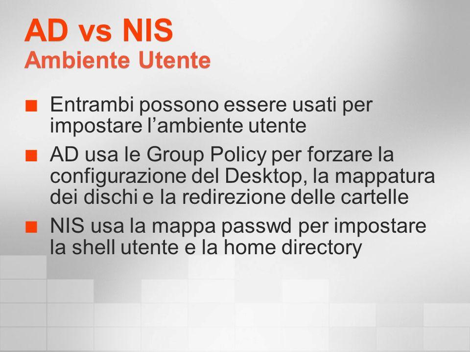 AD vs NIS Ambiente Utente Entrambi possono essere usati per impostare lambiente utente AD usa le Group Policy per forzare la configurazione del Desktop, la mappatura dei dischi e la redirezione delle cartelle NIS usa la mappa passwd per impostare la shell utente e la home directory