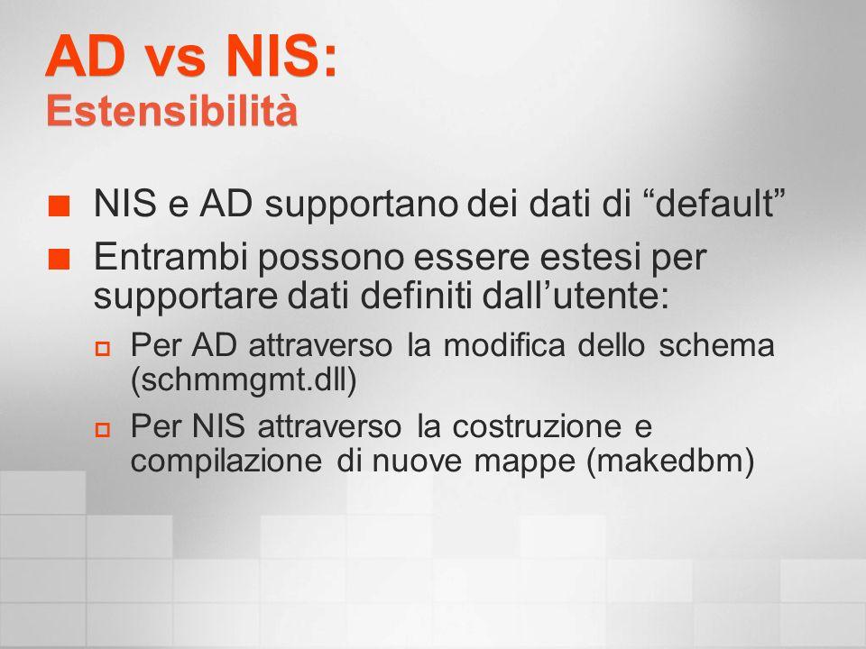 AD vs NIS: Estensibilità NIS e AD supportano dei dati di default Entrambi possono essere estesi per supportare dati definiti dallutente: Per AD attraverso la modifica dello schema (schmmgmt.dll) Per NIS attraverso la costruzione e compilazione di nuove mappe (makedbm)