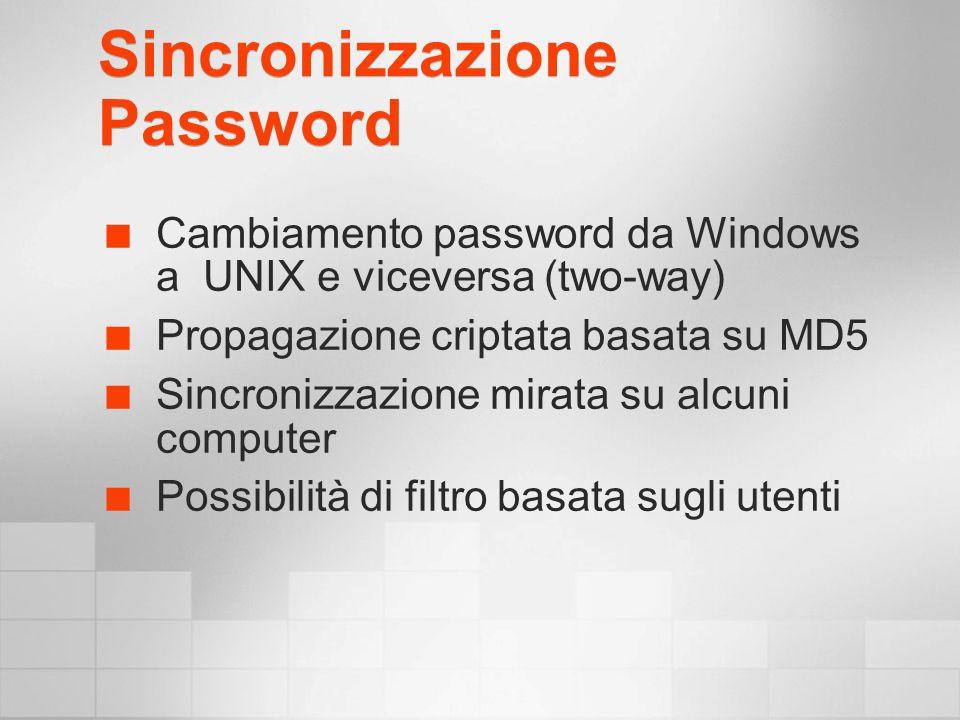 Sincronizzazione Password Cambiamento password da Windows a UNIX e viceversa (two-way) Propagazione criptata basata su MD5 Sincronizzazione mirata su alcuni computer Possibilità di filtro basata sugli utenti