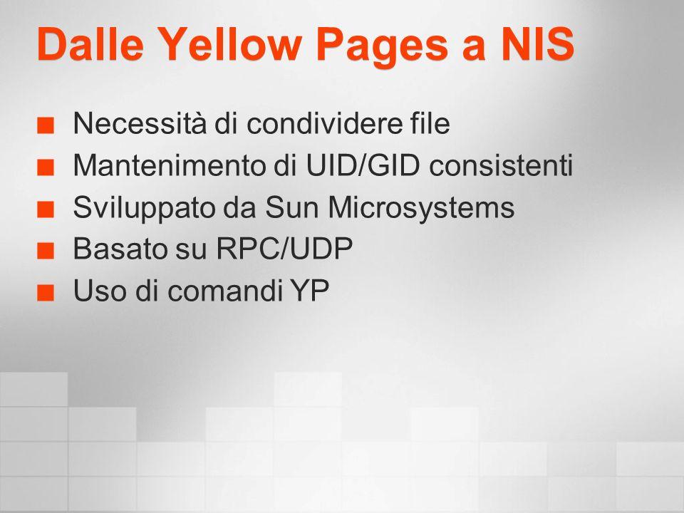 Dalle Yellow Pages a NIS Necessità di condividere file Mantenimento di UID/GID consistenti Sviluppato da Sun Microsystems Basato su RPC/UDP Uso di comandi YP