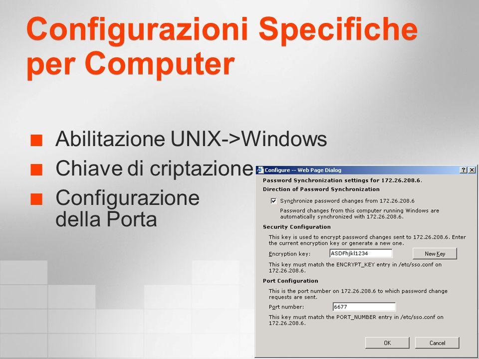 Configurazioni Specifiche per Computer Abilitazione UNIX->Windows Chiave di criptazione Configurazione della Porta