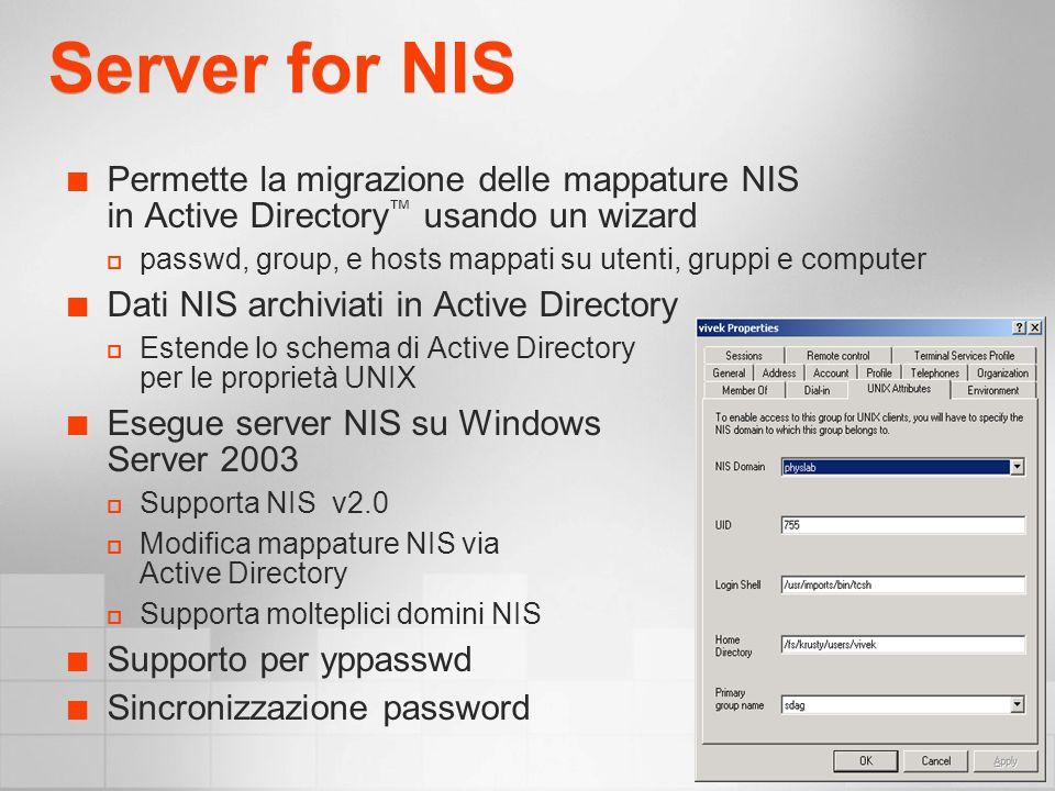 Servizi che Usano UNM Server for NFS Client for NFS Gateway for NFS CRON e RSHSvc
