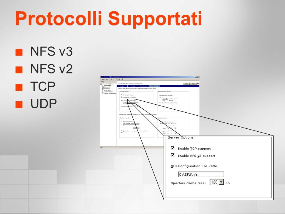 Protocolli Supportati NFS v3 NFS v2 TCP UDP